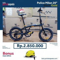 sepeda lipat police milan  black gold bonus helm wp01