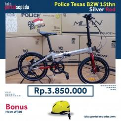 sepeda lipat police texas b2w bonus helm wp01